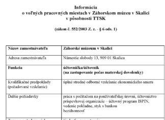 Voľné pracovné miesto - účtovníčka účtovník » Záhorské Múzeum Skalica 5952ef66588