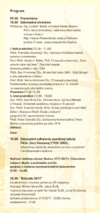 Odborný seminár Skalica 1217-2017, 21.9.2017 - program